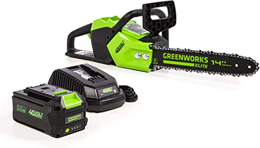 Greenworks 14-Inch 40V Brushless Cordless Chainsaw, 3AH Battery (USB Hub) CS-140