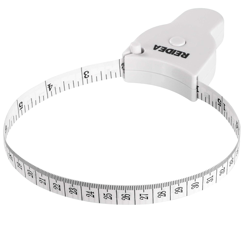 REIDEA Body Measure Tape 60inch (150cm), Lock Pin and Push-Button Retract, Ergnomic and Portable Design, White. Cheerivo Inc. 4337012811