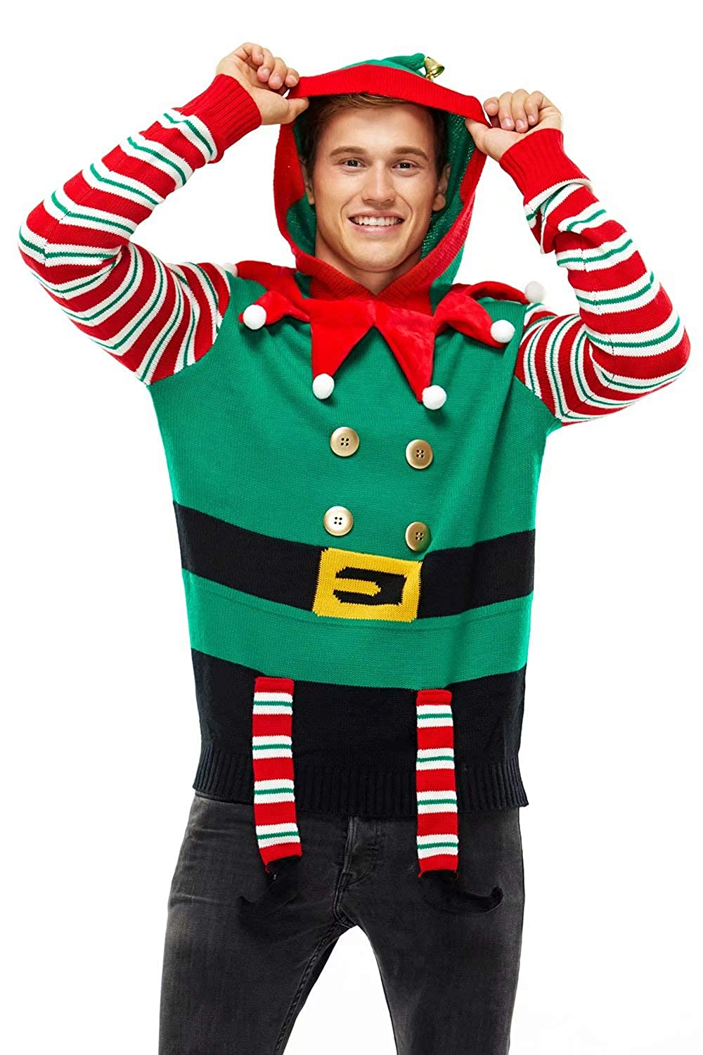 Unisex Ugly Mens Christmas Sweater Hoodie Funny Tacky Christmas Tree Reindeer Rudolph Elf Ugly Pullover