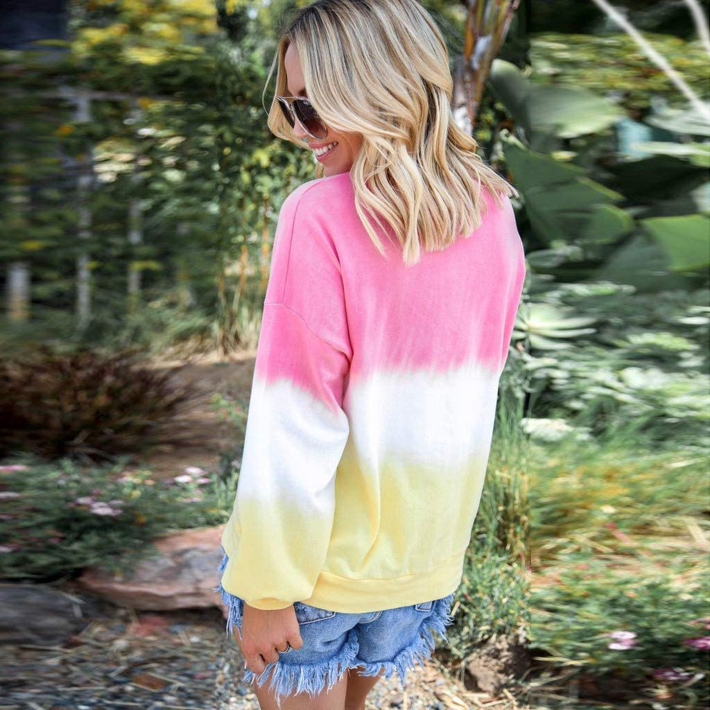 Frauen Frauen Schwangere Stillende Mutterschaft Rundhals Kontrastfarbe Langarm Pullover Nusring Bluse Shirts Pregnant Woman Tops S-XXXL 3XL Battnot Damen Umstandsoberteil Gradient Farbe Gedruckt