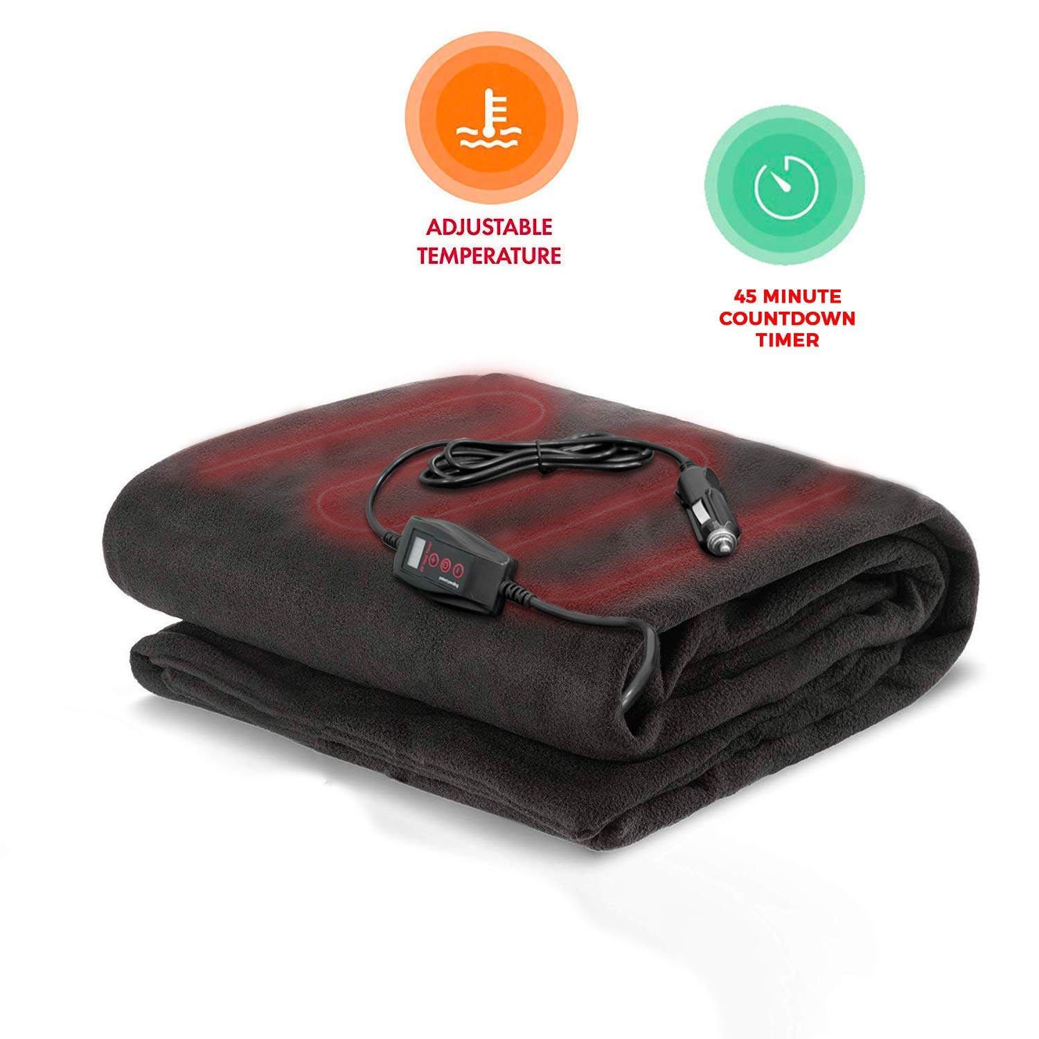 Zento Deals Electric Heated Car 12V Blanket- Polar Fleece Material Blanket - Cold Days and Nights Road Trip, Home and Camping, Safer Nonflammable Wiring and Fabric by Zento Deals