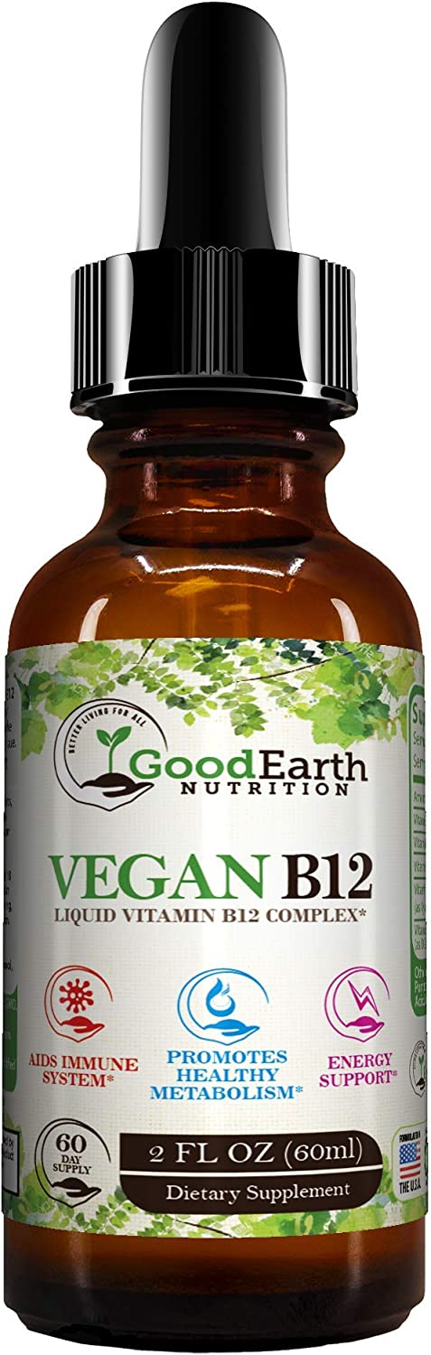 Vegan Vitamin B12 Liquid Sublingual Drops - Fast Acting B-12 Complex - Boost Energy - Aid Immune System & Speed Up Metabolism - Non GMO & Gluten Free - 60 Day Supply Supplement -by GoodEarth Nutrition