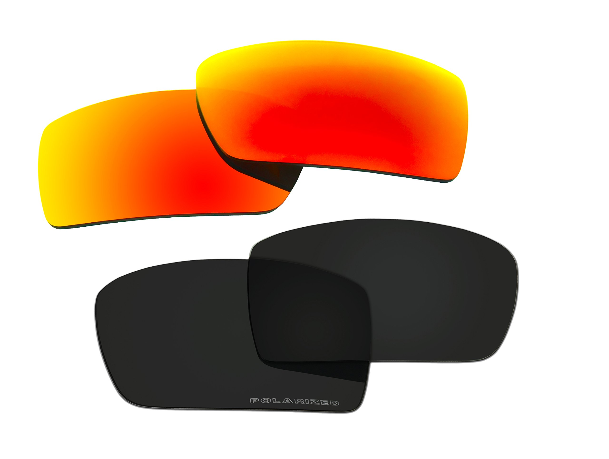 2 Pairs Polarized Replacement Sunglasses Lenses for Oakley Gascan with UV Protection(Black and Fire Red Mirror)