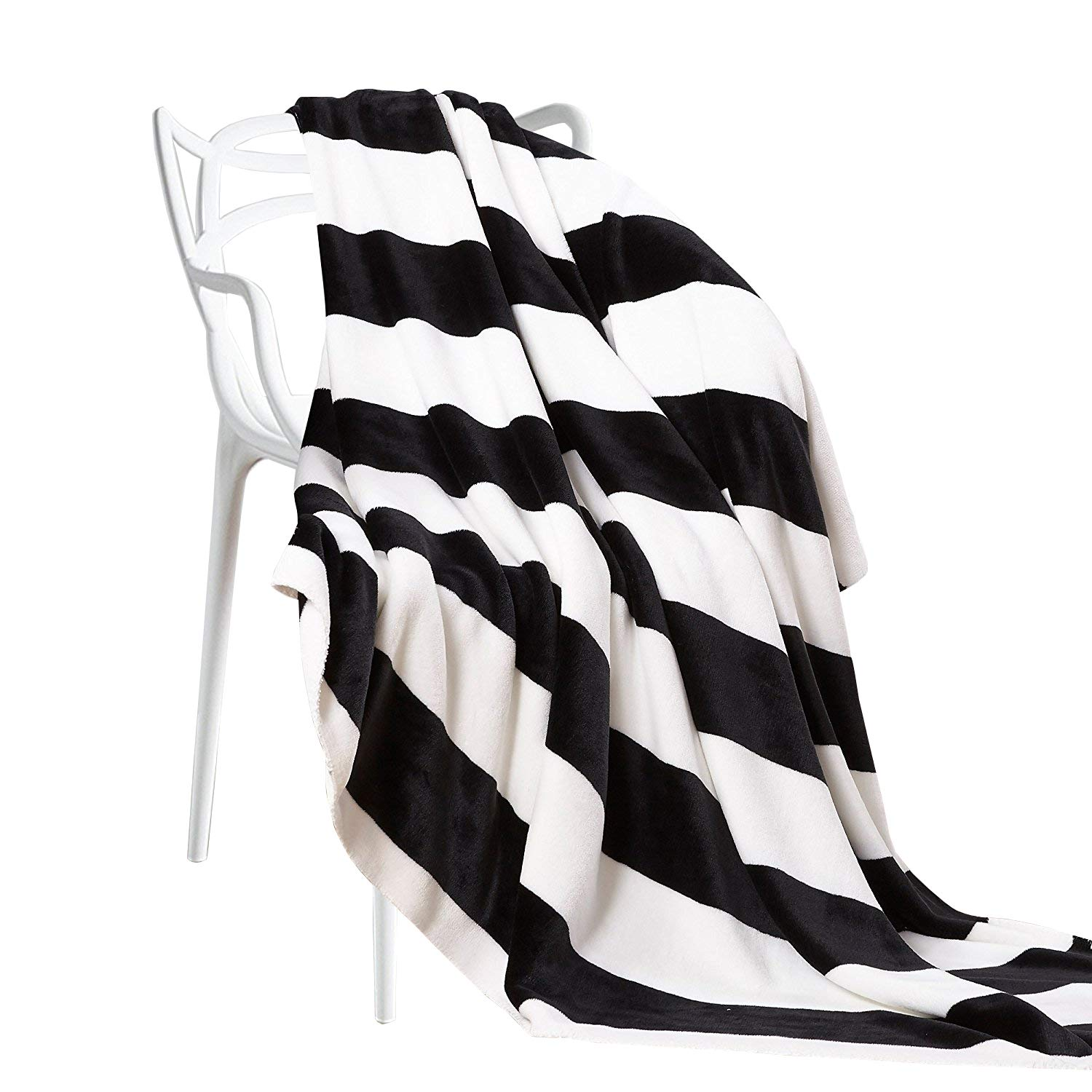"""NTBAY Flannel Throw Blankets Super Soft with Black and White Stripe (51""""x 67"""")"""