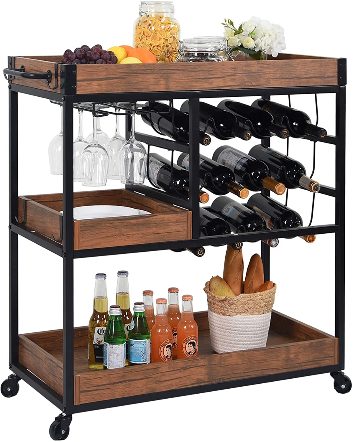 CharaVector Industrial Bar Cart Kitchen Bar&Serving Cart for Home with Wheels 3 -Tier Storage Shelves Portable Wine/Liquor/Tea/Beverage Carts