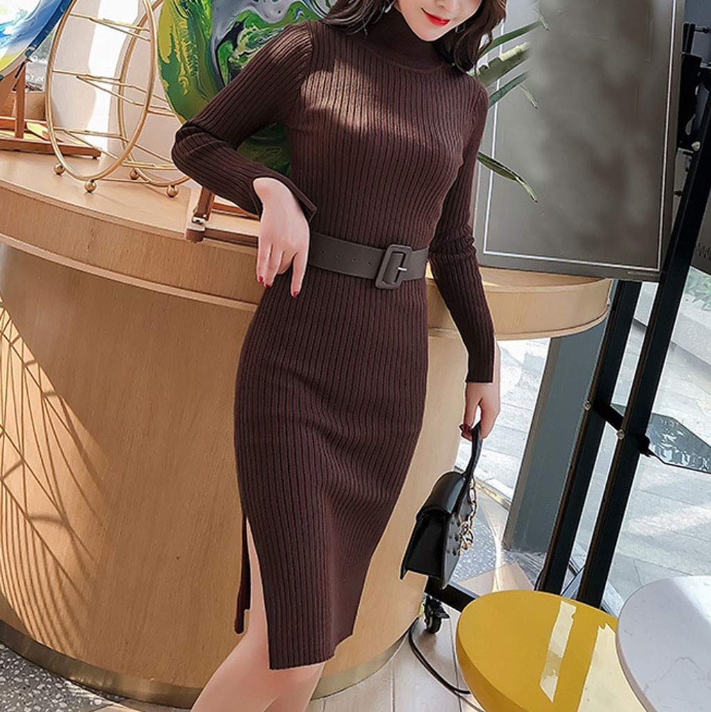 Excursion Clothing Womens Casual Turtleneck Pullover Sweater Dress Elegant Knit Long Sleeve Thin Side Slit Midi Pencil Dress by Excursion Clothing