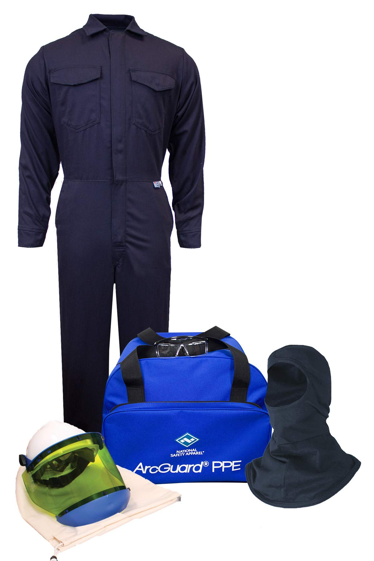 National Safety Apparel KIT2CV11NGBLG ArcGuard HRC 2 Arc Flash Kit with 12 Cal/sq cm Ultra Soft Coverall and Balaclava Knit Hood, Large, Navy