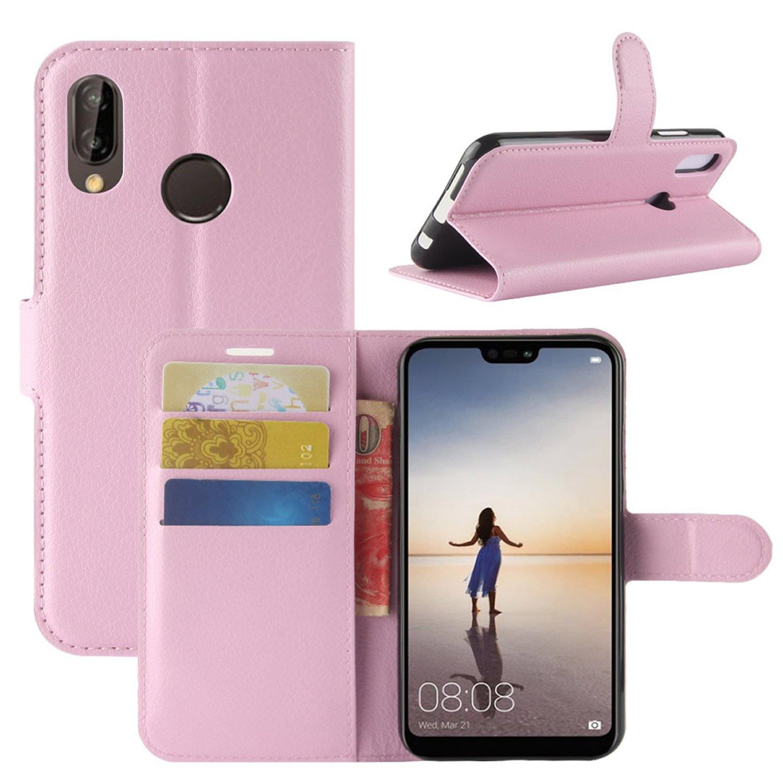 Coque Huawei P20 Lite, HualuBro Premium Étui en Cuir PU Leather Wallet Portefeuille Housse Case Flip Cover avec Cartes Slots pour Huawei P20 Lite Smartphone (Noir) HL Brothers HL-HuaweiP20Lite-Wallet-Black