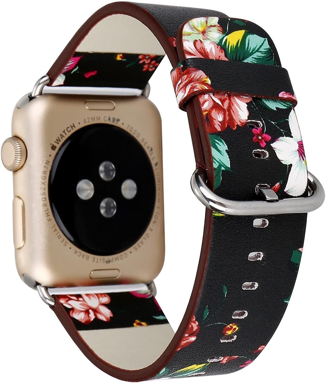 Urberry 38mm Woven Nylon Fabric Replacement Band for Apple Watch Series 2, Series 1, Sport, Edition (Flower-1)