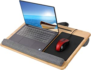 PENGKE Laptop Desk Portable Bamboo Laptop Lap Desk with Pillow Cushion Anti Slip Strip for Home Office,as Computer Laptop Book Stand