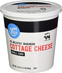 Amazon Brand - Happy Belly 4% Cottage Cheese, Small Curd, Kosher, 24 Ounce