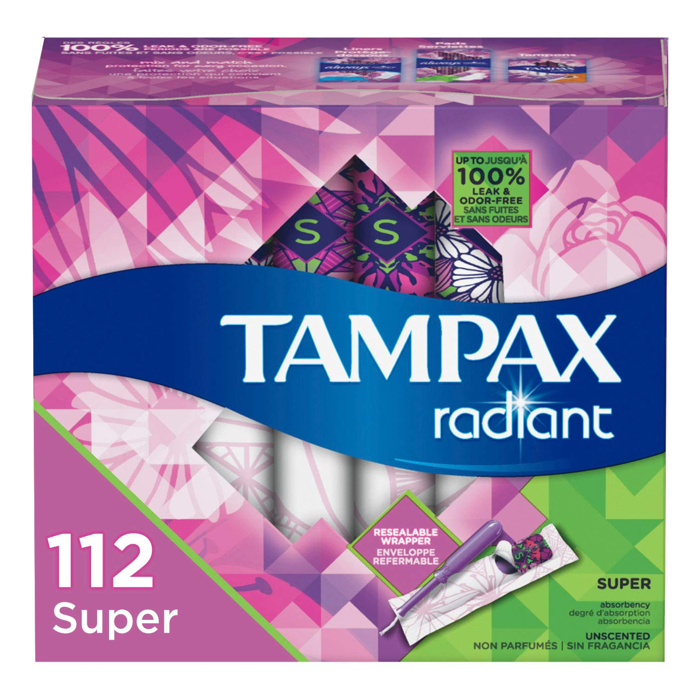 Tampax Radiant Plastic Tampons, Super Absorbency, Unscented, 28 Count (Pack of 4) (Packaging May Vary) by Tampax