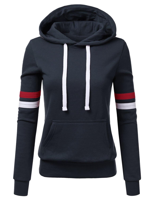 NINEXIS Womens Long Sleeve Fleece Pullover Hoodie Sweatshirts w/ tapings sleeve NAVY XL