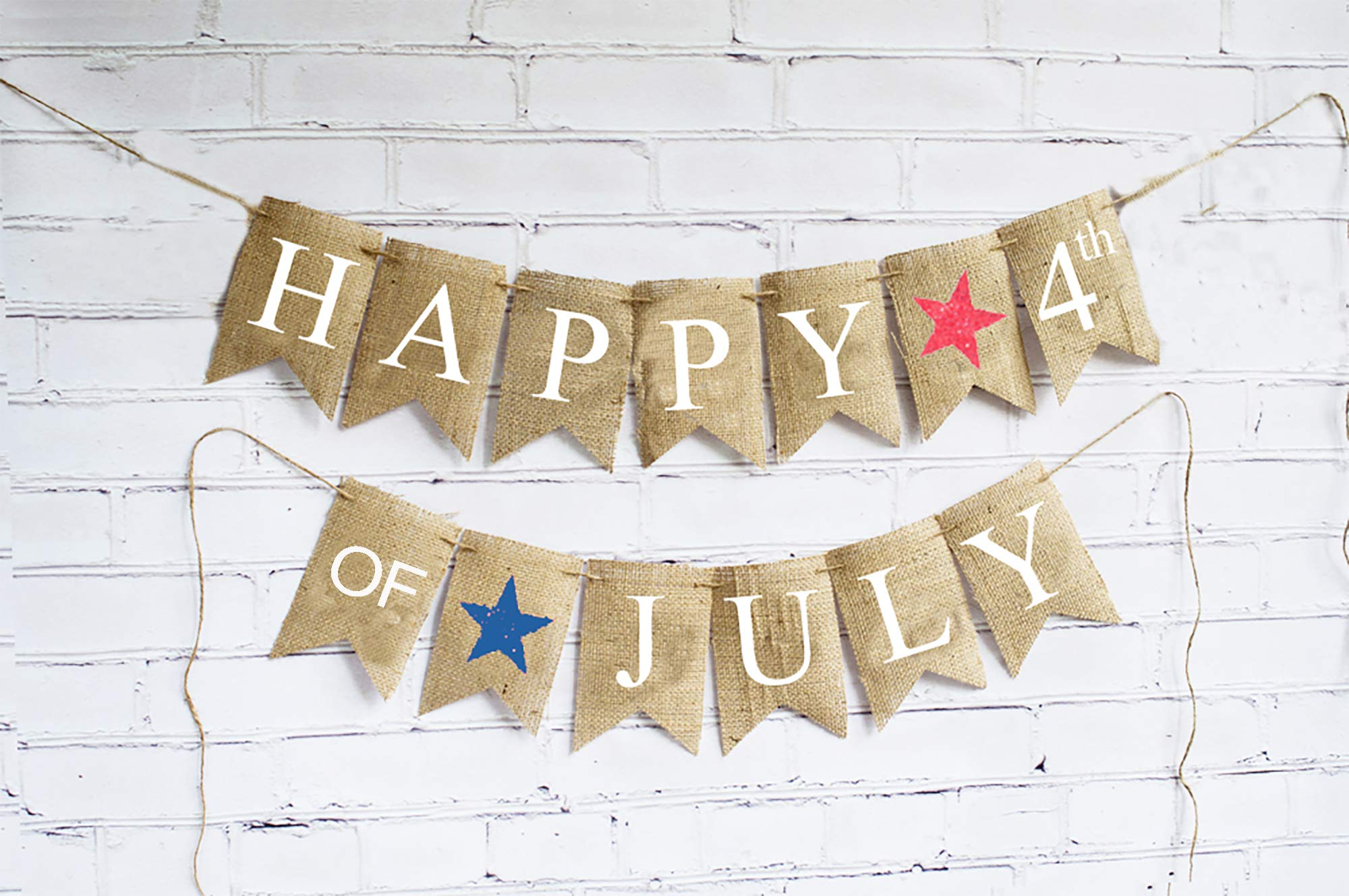 Happy 4th of July Decorations, July 4th Banner, July 4th Decor, Patriotic Bunting, 4th of July Party, Independence Day Decorations B424