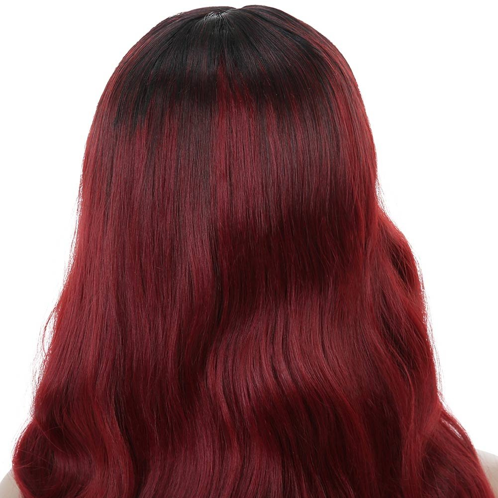 Armmu 28'' Red Ombre Long Body Wave Hair Full Wigs No Lace Wigs for Women 100% Synthetic Hair Burgundy Black Roots Wig (OTBUG) by Armmu (Image #8)