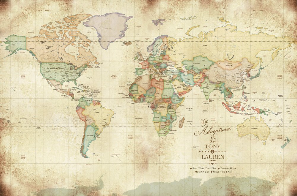 Vintage looking World Map, Mounted on Foam, Gift for Dad, Push Pin Map, Gift for college going kids, Study abroad gift, 20X30 Inches, PERSONALIZED