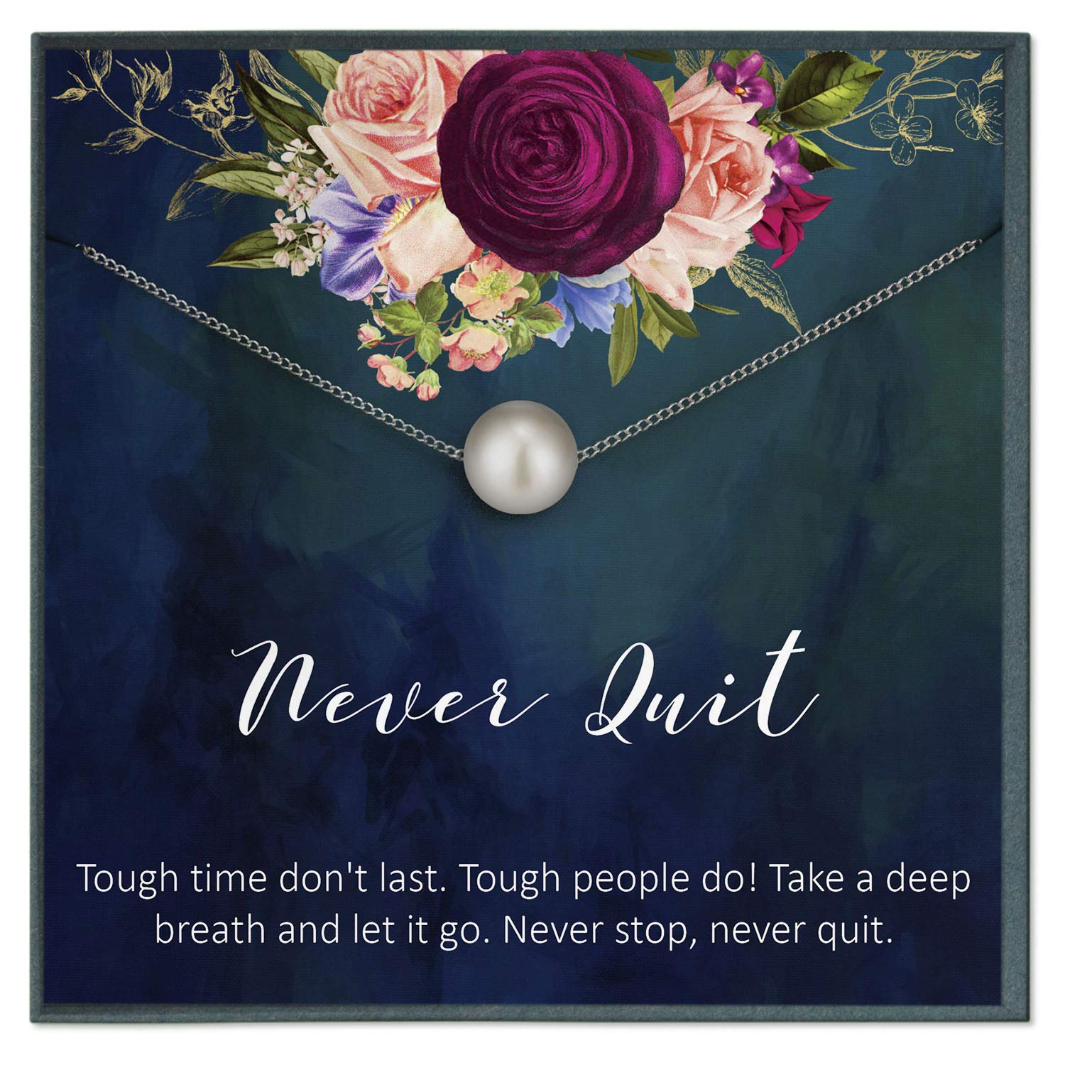 Amazon Com Sobriety Gift For Women Rehab Motivational Quotes Jewelry Cancer Survivor Never Quit Quotes Recovery Quotes Chemo Gifts Handmade