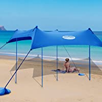 UMARDOO Family Beach Tent with 4 Aluminum Poles, Pop Up Beach Sunshade with Carrying Bag