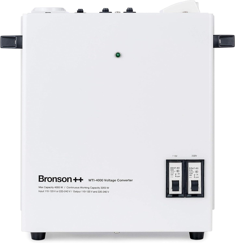 Entrada: 110 o 220 V//Salida: 110 V y 220 V Convertidor Voltaje 4000 Vatios Bronson 4000W Transformador Bronson++ WTI 4000 110 Voltios EE.UU