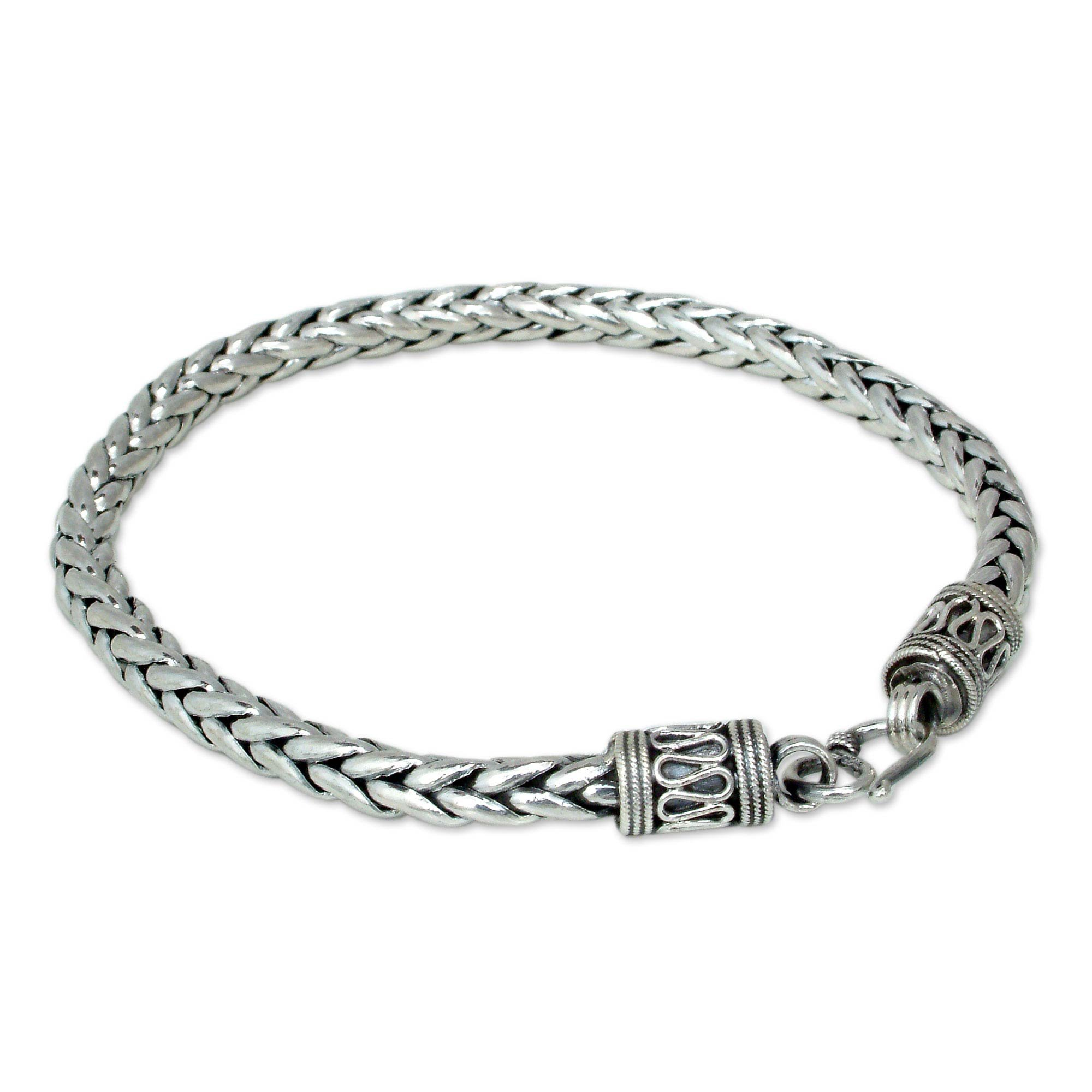 NOVICA Men's .925 Sterling Silver Handmade Chain Bracelet, 8.75'' 'Strength'
