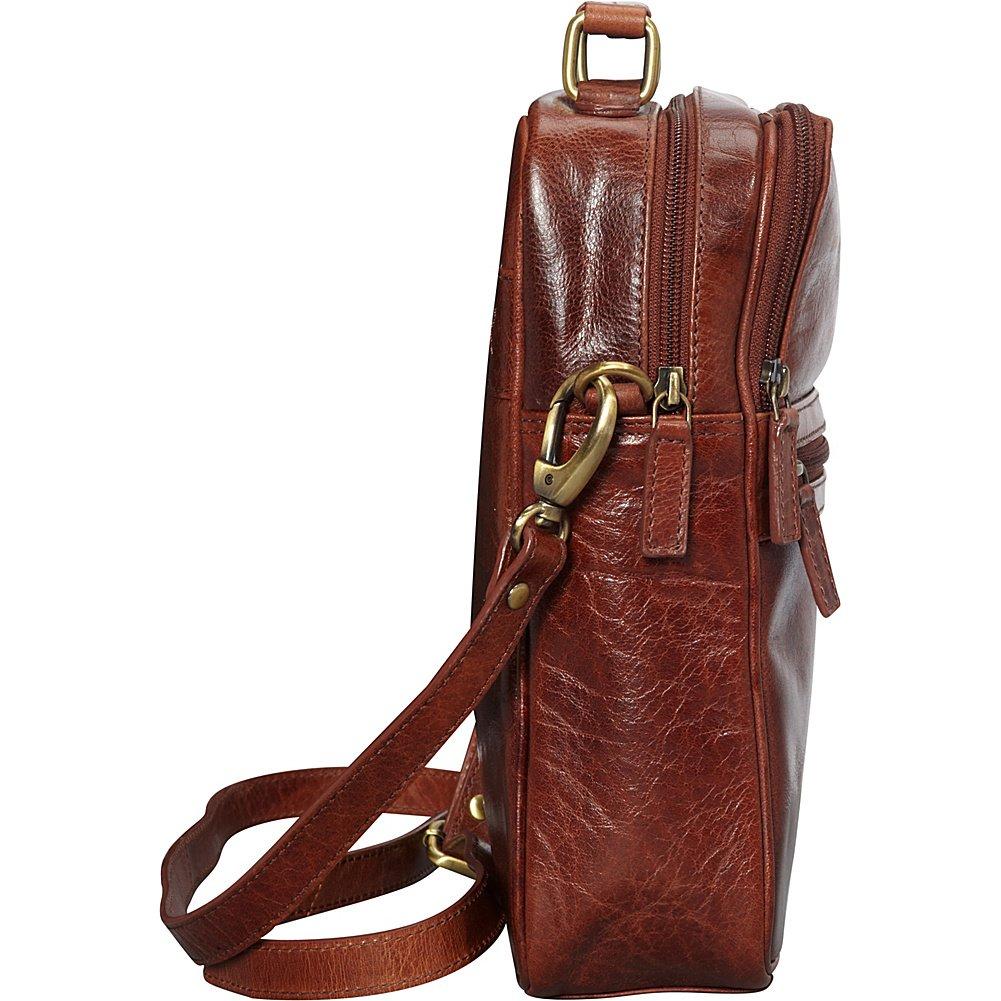 Mancini Leather Goods Buffalo Leather Large Unisex Bag Brown