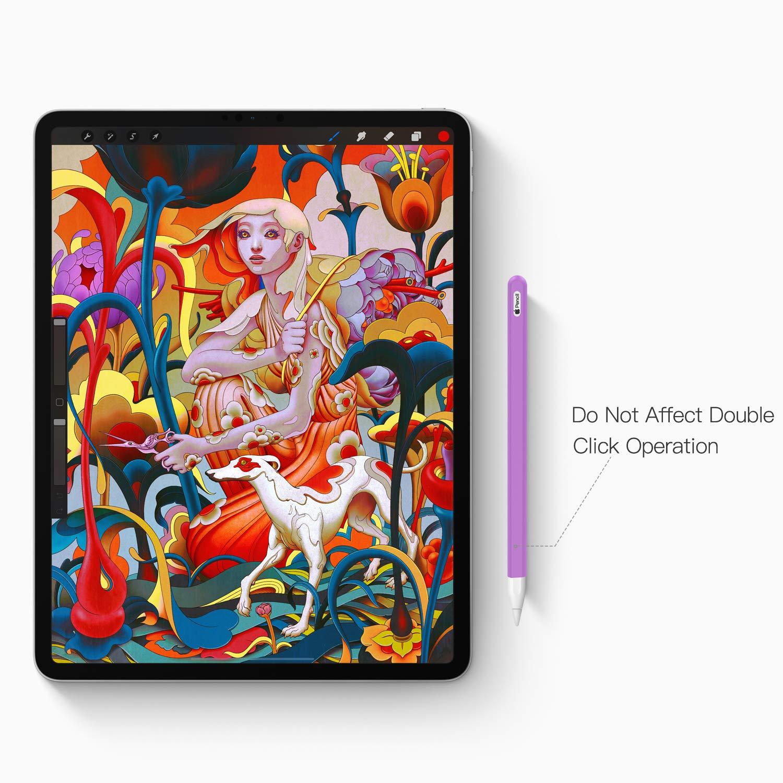 Cubierta de Nib Suave Case Cover para iPad Pro 12.9 // 11 2018 Penci Rosa Antideslizante Protector de Pencil de Silicona TiMOVO Funda Compatible con Apple Pencil 2 2018 Released, 2 PZS