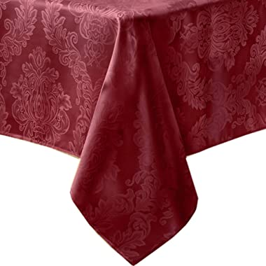 Newbridge Barcelona Luxury Damask Fabric Tablecloth, 100% Polyester, No Iron, Soil Resistant Holiday Tablecloth, 60 Inch x 120 Inch Oblong/Rectangle, Burgundy