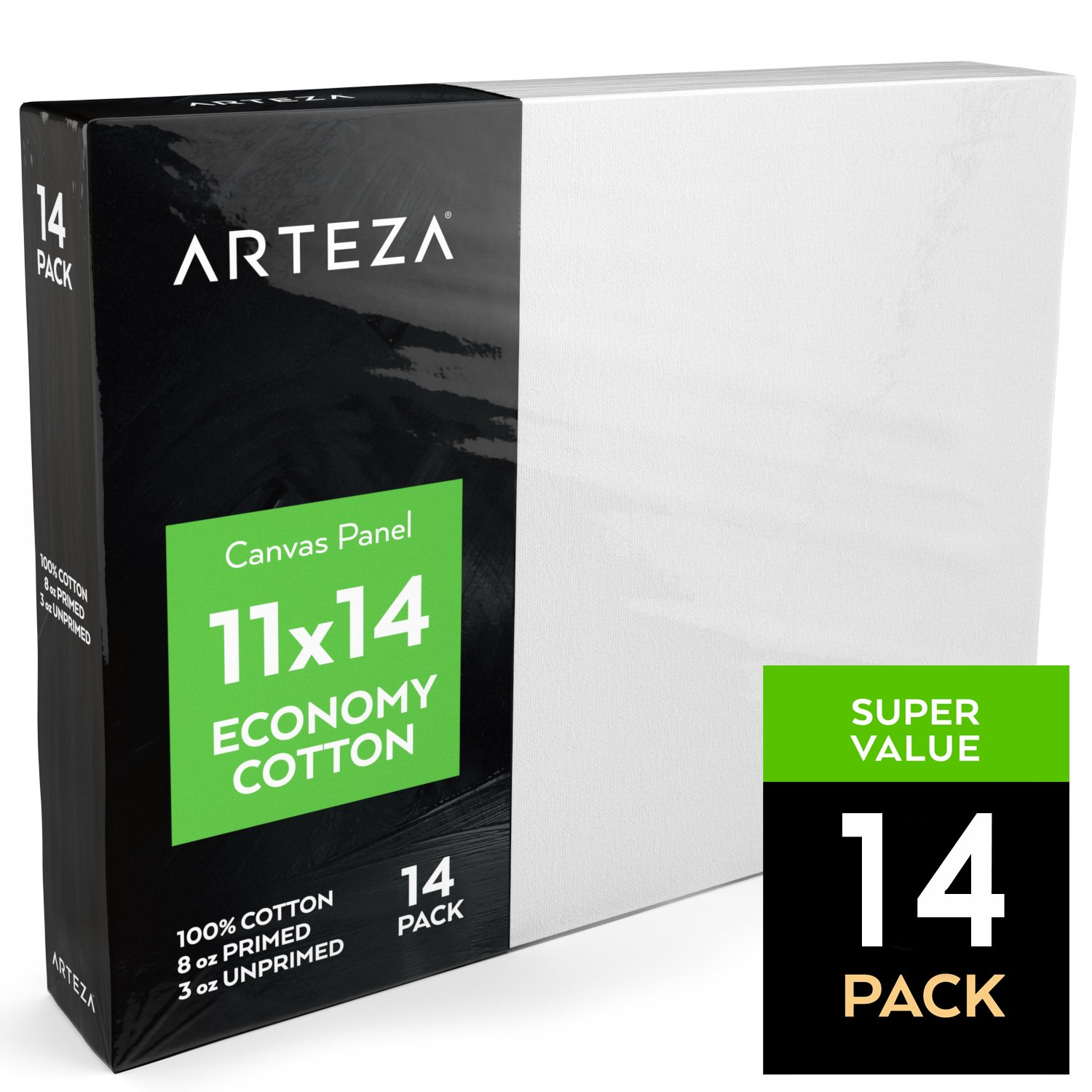 Arteza 11x14'' White Blank Canvas Panel Boards, Bulk Pack of 14, Primed, 100% Cotton for Acrylic Painting, Oil Paint & Wet Art Media, Canvases for Professional Artist, Hobby Painters & Beginners by ARTEZA (Image #3)