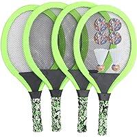 Garneck 2 Juegos de Raquetas de Tenis para Niños 4 Raquetas de Bádminton Juegos Al Aire Libre para Padres E Hijos Juguetes Deportivos de Playa con Volantes Pelota para Niños (Verde)