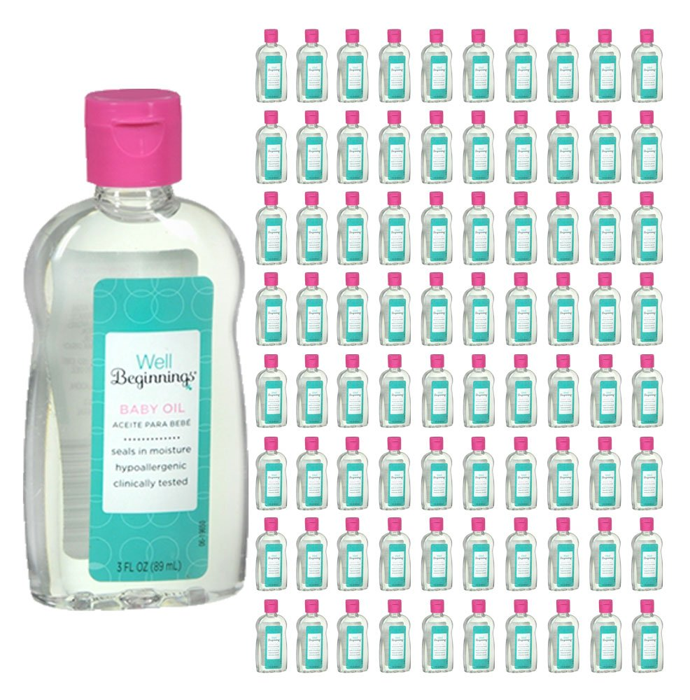 (240 Pack) Well Beginnings Baby Oil Hypoallergenic Moisturizing Travel Size 3oz by Well Beginnings (Image #1)