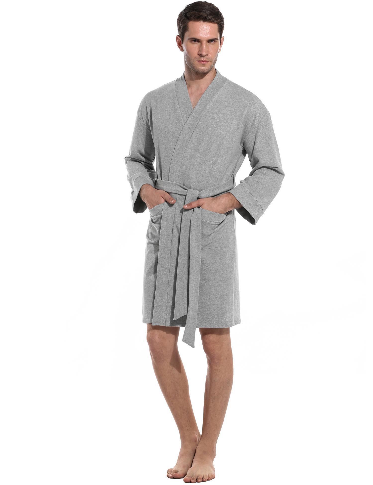 Goldenfox Classy Mens Spa Hotel Bathrobe Kimono Robe Long Lightweight Loungewear (Gray, Small)