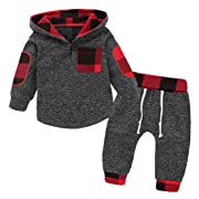 GObabyGO Infant Toddler Boys Girls Sweatshirt Set Winter Fall Clothes Outfit 0-3 Years Old,Baby Plaid Hooded Tops Pants (Gray, 0-6 Months)