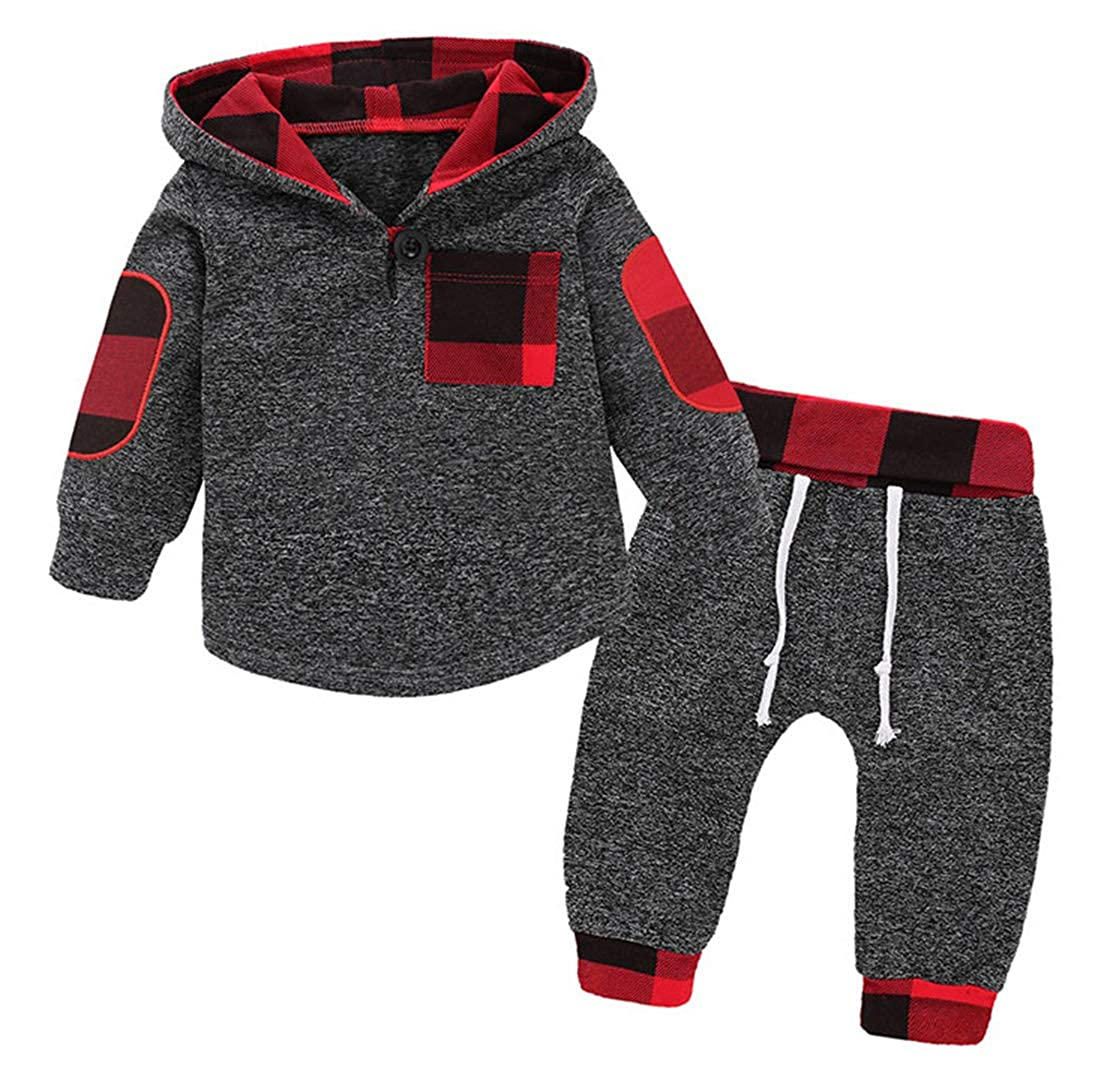 GObabyGO Infant Toddler Boys Girls Sweatshirt Set Winter Fall Clothes Outfit 0-3 Years Old,Baby Plaid Hooded Tops Pants