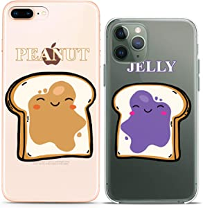 Cavka Matching Couple Cases Replacement for iPhone 12 Pro 5G Mini 11 Xs Max 6s 8 Plus 7 Xr 10 SE X 5 Toast Peanut Silicone Pair Cover Clear Jelly Food Kawaii Best Friend Bro BFF Women Cute Mate Teen