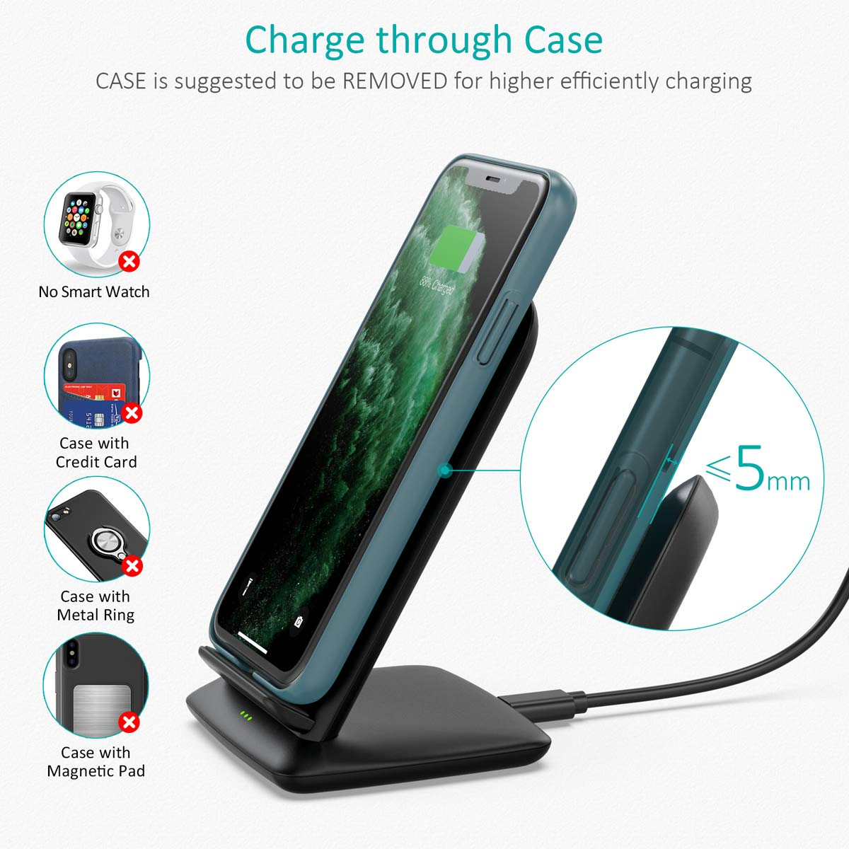 Carga sin Cable con Adaptador QC 3.0 CHOETECH 15W Cargador Inal/ámbrico R/ápido 7.5W para iPhone11//11Pro //XS//XR//X // 8//8 Plus etc. Huawei P30 Pro//Mate 20 10 W para Samsung S10//S9//Note10//Note9//S8
