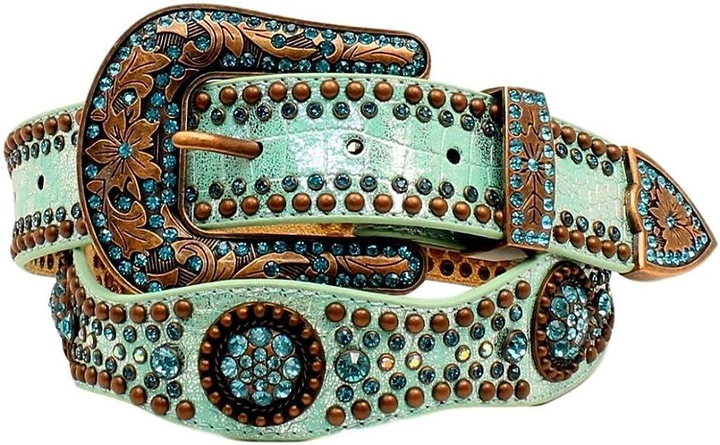 Nocona Women/'s Scallop Round Concho Studded Belt Light Blue X-Large