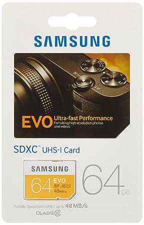 Samsung EVO MB-SP64D/EU - Tarjeta de Memoria SD de 64 GB (Clase 10)