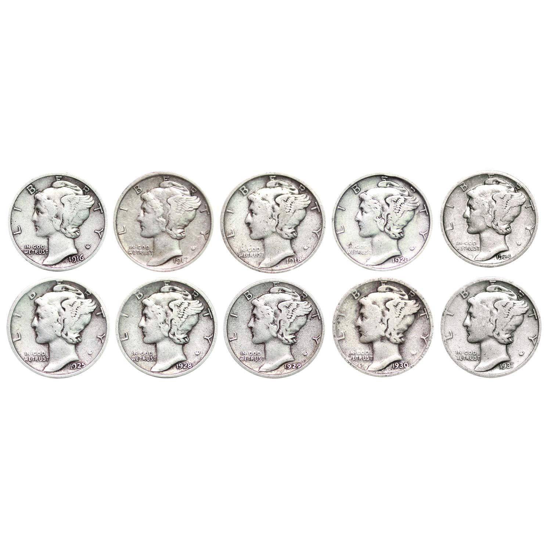 Set of 10 Silver Mercury Dimes Extra Fine
