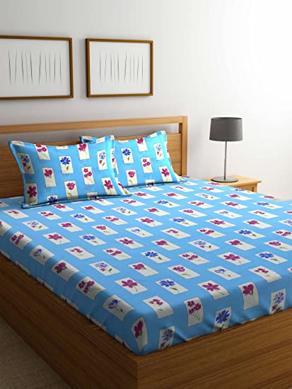 ed1f1f1f34 BOMBAY DYEING IVYROSE Blue 104 TC Microfiber Double Bedsheet with 2 Pillow  Covers: Amazon.in: Home & Kitchen