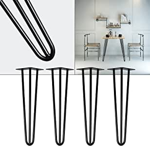 Patas horquilla mesa set 4 negro 71cm Hairpin Legs diseño ...