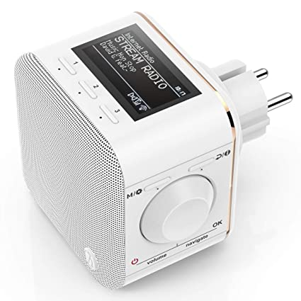 Hama Steckdosen Internetradio klein WLAN Plug in Radio  (Bluetooth/AUX/USB/Spotify/Multiroom/Netzwerkstreaming, integr.  Radio-Wecker, beleuchtetes ...