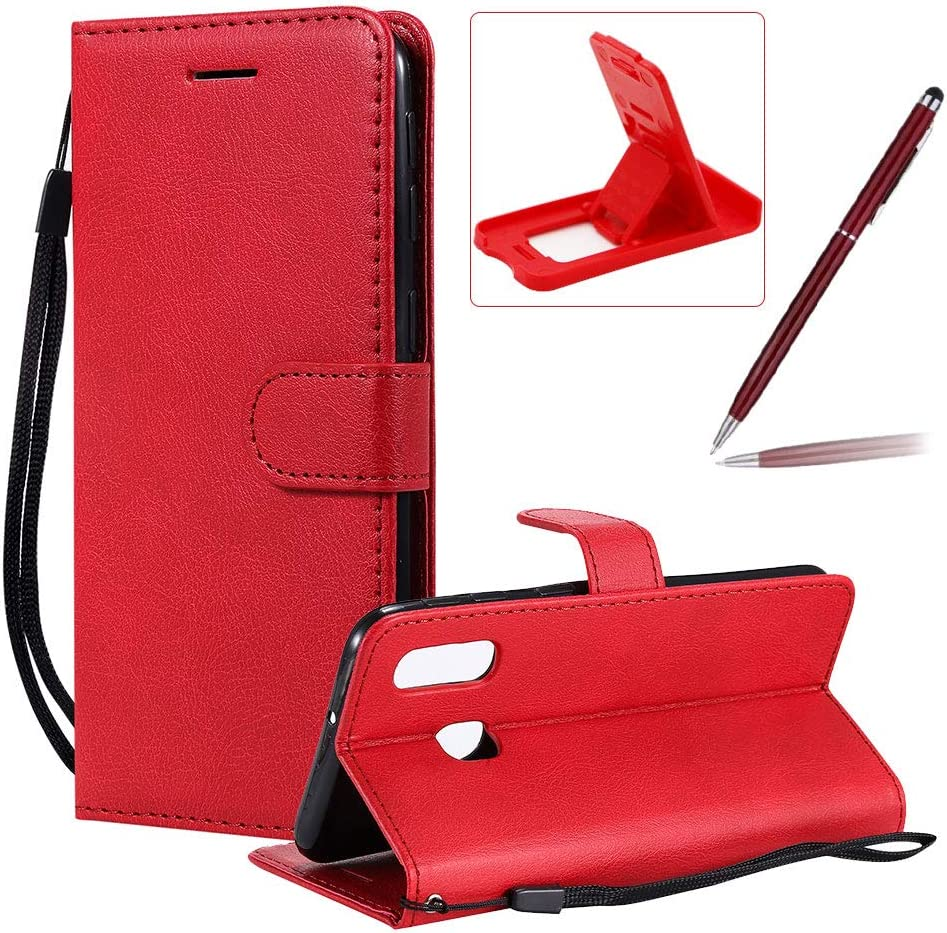 Strap Leather Case for Galaxy A40,Wallet Flip Cover for Galaxy A40,Herzzer Stylish Elegant Red Solid Color Magnetic Folio Smart Stand Cover with Soft TPU