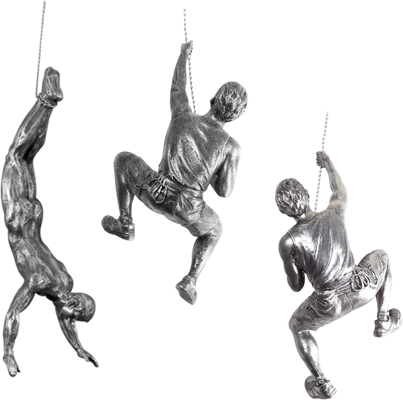 Ibnotuiy Men Climbing Wall Sculpture 3Pcs/Set Resin Art Wall Sculptures Home Decor Small Vintage Statue Figure Kit for Living Room/Bedroom/Office/Garden (Silver Rust)