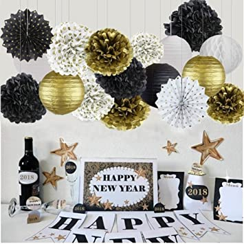 Happy New Year Party Decorations Black White Gold Paper Lanterns Tissue Flowers Pom Poms Hanging