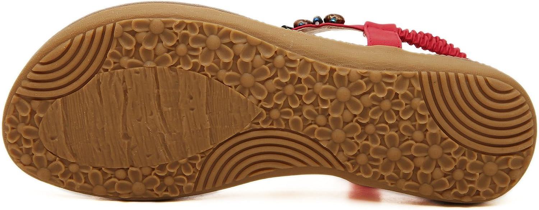 DQQ Womens Red T Strap Thong Sandal 9.5 US