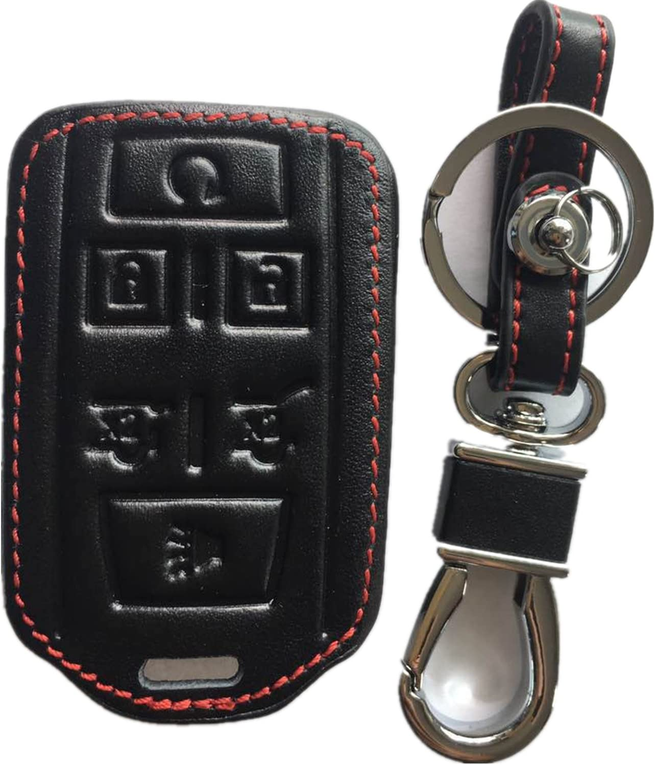 RPKEY Leather Keyless Entry Remote Control Key Fob Cover Case Protector for Chevrolet Silverado 1500 2500 HD 3500 HD Suburban Tahoe GMC Sierra 1500 2500 HD Yukon M3N-32337100 13577766
