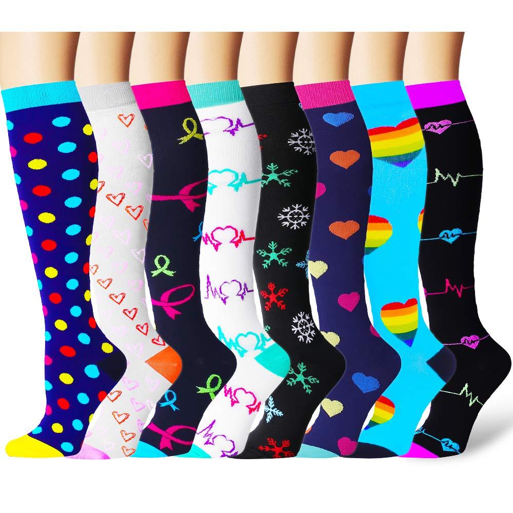 Bluemaple Compression Socks Women & Men - Best for Running,Medical,Athletic Sports,Flight Travel, Pregnancy (Small/Medium, Assort7)