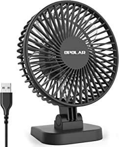 4 Inch Mini USB Desk Fan with 3 Setting, Small Personal Quiet Fan with Strong Airflow & Low Noise, Adjustable Tilt Angle, Perfect Portable Cooling Fan for Desktop Office -3.9 feet Cord (Blue)