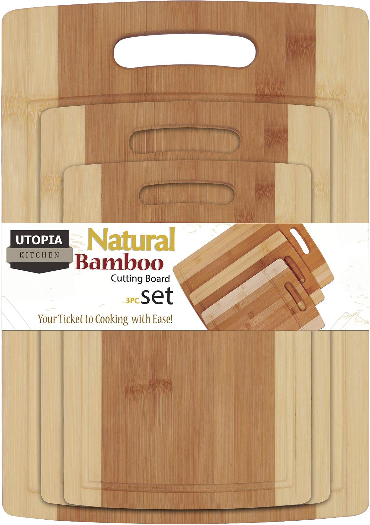 Utopia Kitchen Natural Bamboo Cutting Boards for Kitchen with Juice Groove Wooden Cutting Board Set of 3 - Chopping Boards for Vegetable, Fruits, Meat and Cheese by Utopia Kitchen (Image #1)