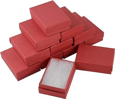 Boxdisplay 24 Cajas de cartón rectangulares de Lino Rojo para ...